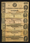 Confederate Notes:Group Lots, $2 1862, $20, $10; and $5 1864 Notes.. ... (Total: 6 notes)