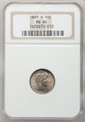 Barber Dimes, 1897-S 10C MS64 NGC....