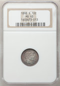 Barber Dimes, 1898-S 10C MS63 NGC....