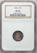 Seated Dimes, 1862 10C MS65 NGC....