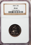 Proof Seated Quarters, 1864 25C PR63 NGC....