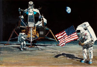 GARY CARTER (American, b. 1939) The United States Flag on the Moon Mixed media on board 23.5 x 34