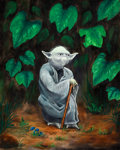 Pulp, Pulp-like, Digests, and Paperback Art, AMERICAN ARTIST (20th Century). Yoda in the Forest, Star Warsseries. Oil on canvas. 30 x 24 in.. Signed indistinctly lo...