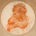 Mainstream Illustration, CHARLES GATES SHELDON (American, 1889-1960). A Mother'sLove. Red chalk on paper. 20 x 20 in. (oval). Signed lowerright...