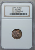 Barber Dimes, 1914-S 10C MS66 NGC....