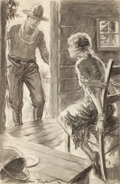 Pulp, Pulp-like, Digests, and Paperback Art, WESTON TAYLOR (American, 1881-1978). Pollyanna's WesternAdventure, story illustration. Charcoal on board. 22 x 14 in.....