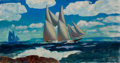 Mainstream Illustration, HORACE GILMORE (American, d. 1999). Sailboats Offshore. Oilon canvas. 18 x 24 in.. Not signed. From the Estate of C...