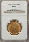 Indian Eagles: , 1908 $10 No Motto MS61 NGC. NGC Census: (134/322). PCGS Population(92/374). Mintage: 33,500. Numismedia Wsl. Price for pro...