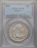 Early Half Dollars: , 1803 50C Large 3 AU50 PCGS. PCGS Population (14/25). NGC Census:(16/700). Mintage: 188,234. Numismedia Wsl. Price for prob...