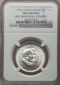 1952 50C Washington-Carver -- Obv Improperly Cleaned -- NGC Details. UNC. NGC Census: (2/3175). PCGS Population (4/3615)...
