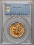 Indian Eagles, 1909-S $10 AU55 PCGS Secure. PCGS Population (77/395). NGC Census:(87/432). Mintage: 292,350. Numismedia Wsl. Price for pr...
