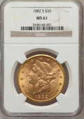 Liberty Double Eagles: , 1882-S $20 MS61 NGC. NGC Census: (393/170). PCGS Population(310/334). Mintage: 1,125,000. Numismedia Wsl. Price for proble...