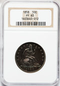 Proof Seated Half Dollars, 1858 50C PR63 NGC....