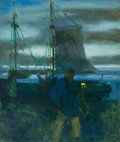 Mainstream Illustration, HORACE GILMORE (American, d. 1999). The Harbor at Night. Oilon canvas. 30 x 24 in.. Not signed. From the Estate of ...