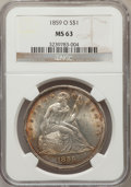 Seated Dollars: , 1859-O $1 MS63 NGC. NGC Census: (35/18). PCGS Population (50/17).Mintage: 360,000. Numismedia Wsl. Price for problem free ...