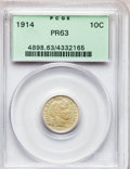 Proof Barber Dimes: , 1914 10C PR63 PCGS. PCGS Population (53/97). NGC Census: (35/107).Mintage: 425. Numismedia Wsl. Price for problem free NGC...