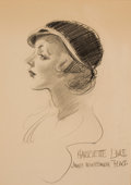 Mainstream Illustration, JAMES MONTGOMERY FLAGG (American, 1877-1960). Portrait ofHarriette Lake. Pencil on board. 18 x 13 in.. Signed andinscr...