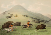 GEORGE CATLIN (American, 1796-1872) North American Indian Portfolio Buffalo Hunt, Horseback (Pla