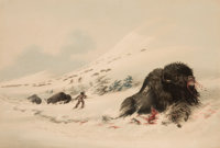 GEORGE CATLIN (American, 1796-1872) North American Indian Portfolio Dying Buffalo Bull, in Snow