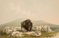 GEORGE CATLIN (American, 1796-1872) North American Indian Portfolio Buffalo Hunt, White Wolves A
