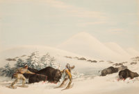 GEORGE CATLIN (American, 1796-1872) North American Indian Portfolio Buffalo Hunt, On Snow Shoes