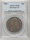 Bust Half Dollars: , 1819 50C VF30 PCGS. O-115. PCGS Population (18/354). NGC Census:(18/307). Mintage: 2,208,000. Numismedia Wsl. Price for p...