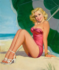 Pin-up and Glamour Art, HOWARD CONNELLY (American, 20th Century). Blonde Pin-Up UnderBeach Umbrella. Oil on board. 24 x 20 in.. Signed lower ri...