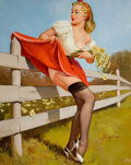 Pin-up and Glamour Art, GIL ELVGREN (American, 1914-1980). On the Fence, 1959. Oilon canvas. 30 x 24 in.. Signed lower right. ...