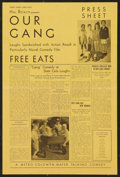 "Movie Posters:Comedy, Our Gang in Free Eats (MGM, 1932). Press Sheet (2 Pages, 12"" X 18""). Comedy.. ..."