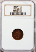 Proof Indian Cents: , 1867 1C PR63 Red and Brown NGC. NGC Census: (26/204). PCGS Population (30/121). Mintage: 625. Numismedia Wsl. Price for pro...