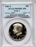Proof Kennedy Half Dollars: , 1981-S 50C Type One PR69 Deep Cameo PCGS. PCGS Population(7349/117). Numismedia Wsl. Price for problem...