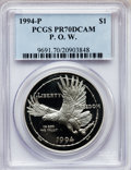 Modern Issues: , 1994-P $1 P.O.W. Silver Dollar PR70 Deep Cameo PCGS. PCGSPopulation (22). NGC Census: (17). Mintage: 220,100. NumismediaW...