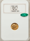 Commemorative Gold, 1922 G$1 Grant With Star MS63 NGC. CAC....