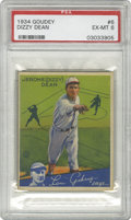 Baseball Cards:Singles (1930-1939), 1934 Goudey Dizzy Dean #6 PSA EX-MT 6. A great card from Dizzy's greatest season, when he and his brother Daffy led the Gas...