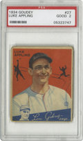 Baseball Cards:Singles (1930-1939), 1934 Goudey Luke Appling #27 PSA Good 2. Two Hall of Famers for theprice of one, as the great Lou Gehrig appears at the bo...