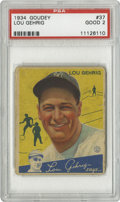 Baseball Cards:Singles (1930-1939), 1934 Goudey Lou Gehrig #37 PSA Good 2. The set's spokesman smiles big upon his personal card. Wear is obvious, but our ima...