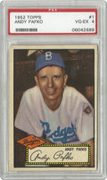 Baseball Cards:Singles (1950-1959), 1952 Topps Andy Pafko #1 PSA VG-EX 4. Black back version of thetough #1 card from the '52 Topps set. Always difficult to f...