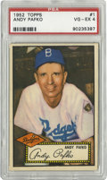 Baseball Cards:Singles (1950-1959), 1952 Topps Andy Pafko #1 PSA VG-EX 4. Brilliant #1 card from thepopular 1952 Topps issue features the long-time Dodgers ou...