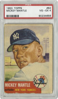 Baseball Cards:Singles (1950-1959), 1953 Topps Mickey Mantle #82 PSA VG-EX 4. Great portrait of the all-time Yankees favorite Mickey Mantle....
