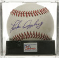 "Autographs:Baseballs, Luke Appling Single Signed Baseball, PSA NM-MT 8. ""Old Aches andPains"" applies his booming blue ink signature to the sweet..."