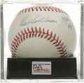 "Autographs:Baseballs, Richie Ashburn ""HOF '95"" Single Signed Baseball, PSA Mint 9. TheHall of Fame outfielder for the Whiz Kids adds his Hall of..."