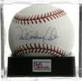 Autographs:Baseballs, Derek Anderson Jeter Single Signed PSA Mint 9. Rare full-namesignature from Yankee superstar Derek Anderson Jeter. Ball ha...