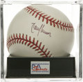 Autographs:Baseballs, Randy Johnson Single Signed Baseball, PSA NM-MT+ 8.5. Co-MVP RandyJohnson has left this official 2001 World Series basebal...