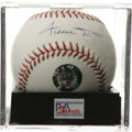 Autographs:Baseballs, Hall of Famers Baseball Signed by 12. Clean OAL (Brown) ball offers signatures from 12 of Cooperstown's heroes including a ...
