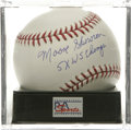 "Autographs:Baseballs, Moose Skowron ""5x WS Champs"" Single Signed Baseball, PSA Gem Mint10. Stunning example of long-time New York Yankees first ..."