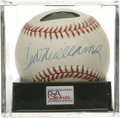 Autographs:Baseballs, Ted Williams Single Signed Baseball, PSA NM-MT+ 8.5. Booming sweet spot sig courtesy of legendary slugger Ted Williams. Ba...