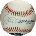 Autographs:Baseballs, Joe DiMaggio Single Signed Photo Ball. The OAL (MacPhail) ball that we make available here sports a hand-painted representa...
