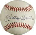 Autographs:Baseballs, Mickey Mantle Single Signed Baseball. Pristine example of theMick's desirable signature appears on the sweet spot of the o...
