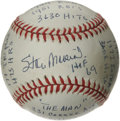 Autographs:Baseballs, Stan Musial Single Signed Stat Baseball. Limited edition (308/1000)baseball offers a sweet spot signature and a lengthy not...