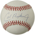Autographs:Baseballs, Cal Ripken, Jr. Single Signed Baseball. Baseball's Iron Man haspenned a booming signature across the sweet spot of the off...